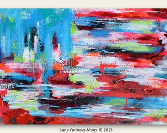 New Art Print of American Flag ABSTRACT Painting - ABSTRACT EXPRESSIONISM Modern Painting on Wrapped Canvas