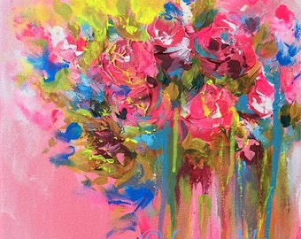 Shabby Chic Summer Flowers Painting by Lana Moes - Romantic Floral Bouquet - Abstract Floral painting - Pink Painting