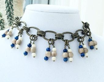 Tagua Nut Jewelry - Tagua Bracelet - Brass Jewelry - Nut Jewelry - Dangle Charm Bracelet