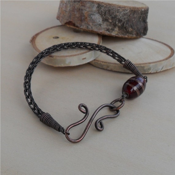 Knitting With Wire Instructions : Viking knit bracelet jewelry copper wire wrap by