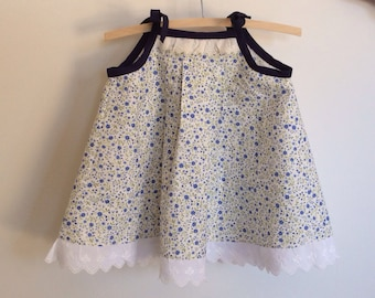 Blue and white sundress, size 2 summer dress, toddler girls upcycled clothing, cotton and lace dress with navy tie straps.