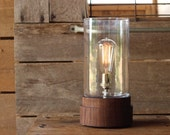 Signature Lantern Pedestal Lamp, Walnut- Solid Walnut, Table Lamp, Edison Bulb Lamp, Modern Lighting, Glass Shade