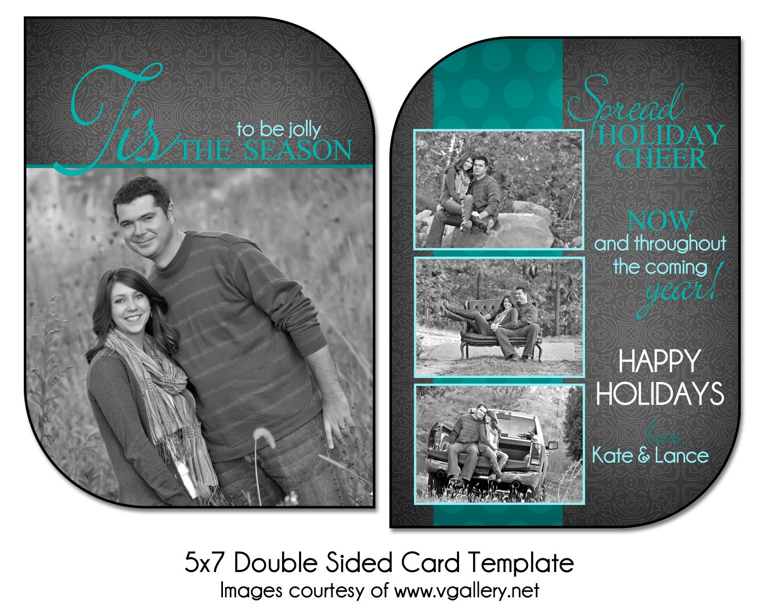 christmas card template stenciled cheer 5x7 double sided. Black Bedroom Furniture Sets. Home Design Ideas