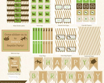 Printable REPTILE Birthday Party Package, Snake Party, Retile Party Pack