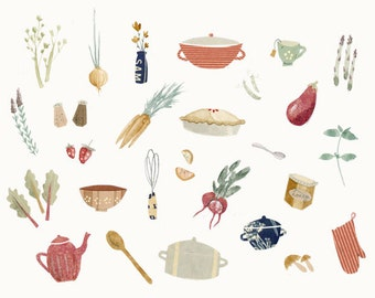 Food and Kitchenware Illustration Print