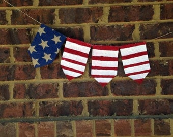 Patriotic Banner- American Flag Banner, Labor Day, Fourth of July, Memorial Day