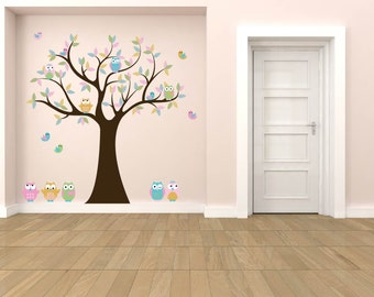 children tree decal- Nursery wall decal- Owl tree- Vinyl tree- 5 Free owls