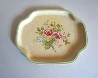 "Vintage Metal Tray with Roses and Wildflowers 10 x 12"" Made in England for Avon - Floyd Jones Vintage"