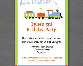 All Aboard Train Birthday Party Invitation