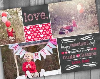 Valentines Photo Card Valentine Photo Card Kids Valentine Card Chakboard Valentine Card Printable Valentine Crad