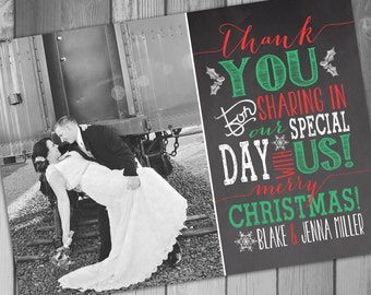 Wedding Thank You Card Christmas Wedding Photo Thank You Card Christmas Card Printable Thank You Card Newlywed Christmas Card