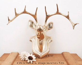 vintage brass deer head wall mounted decor