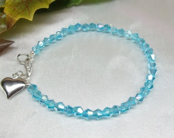 Aquamarine Bracelet Crystal Bracelet Silver Heart Bracelet Light Blue Bracelet Crystal Bracelet 925 Sterling Silver Bracelet BuyAny3+1Free