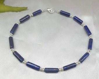 Blue Lapis Anklet Lapis Ankle Bracelet Blue Lapis Lazuli Anklet Blue Lapis Ankle Bracelet 100% 925 Sterling Silver Anklet BuyAny3+Get1Free
