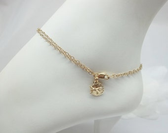 14k Gold Anklet Double Strand Gold Chain Anklet Gold Anklet Star Fish Sand Dollar Anklet 14k Gold Filled Anklet Beach Jewelry BuyAny3+1 Free