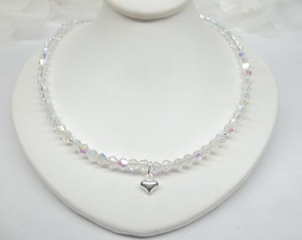 Girls Crystal Necklace Clear AB Crystal Necklace Heart Necklace Adjustable Necklace 925 Sterling Silver Necklace BuyAny3+Get1 Free