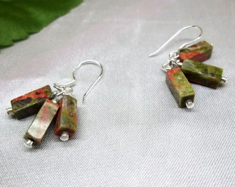 Unakite Earrings Summer Earrings Orange Earrings Green Earrings Cluster Earrings Dangle Earrings Sterling Silver Earrings Buy3+1 Free