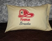 Toddler Boy Pillowcase - Personalized with Child's Name - Bedroom Decor - Fireman Hat