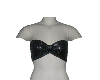 Black Sequin bandeau top, Black bow top,Sequin bow bandeau