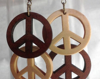 Bronze/Wood Double Peace Sign Earrings Boxed FREE SHIPPING
