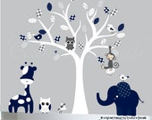 Navy and Grey Childrens jungle wall decal white tree decal sticker - 0164