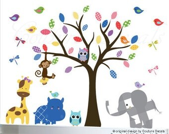 Childrens wall decal - owl jungle tree wall decal - 0279