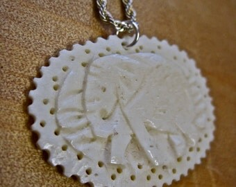 Elephant Necklace Hand Carved Bone on Sterling Chain Vintage Faux Ivory Primitive Tribal India Africa