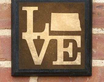 North Dakota ND LOVE Wall Art Sign Plaque Gift Present Personalized Color Custom Home Decor Vintage Style Bismark Fargo Minot Classic