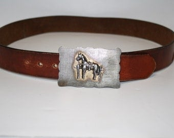 Vintage Silver Horse Buckle with Engraving Leather Belt Size 32 33 34 35 36 37