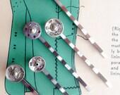 Vintage Silver Tone Snap Bobby Pin