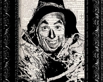Wizard Of Oz - Scarecrow - Dictionary Print Vintage Book Print Page Art Upcycled Vintage Book Artupcycled book print