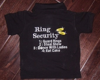 SALE Boutique Ring or Crown Bearer Security Wedding WHITE Polo Shirt with name.  Sizes 12M to 14 Youth Short Sleeves