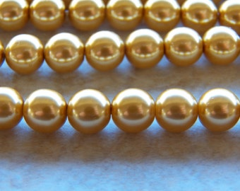 8mm Gold PRECIOSA Traditional Czech Glass Pearl Beads, 25 PC (INDOC592)