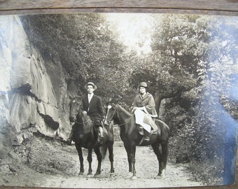 Real Photo Postcard - RPPC - Man and Lady on Horseback