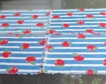 Set of Four Vintage Napkins or Placemats  Shabby or Cottage Chic, Darling Fruit Apples on Blue Stripes, Fringe Edge