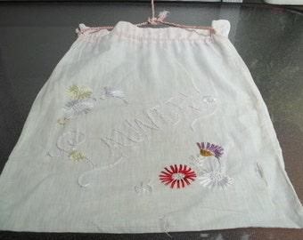 Vintage Laundry Bag, Hand Embroidered Flowers with French Knots, Needs Some TLC