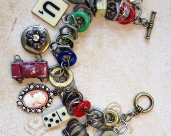 Industrial Chic Charms Mixed Media Altered Art Steampunk Charm Bracelet Jewelry