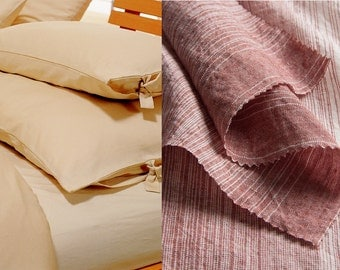 single LINEN BEDDING from specially woven linen with stripes in red (140 x 200 cm)