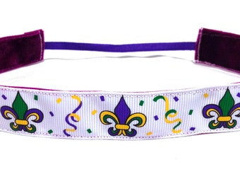 NOODLE HUGGER Non slip ribbon headband - Mardi Gras Celebration - 7/8 inch (running, working out, everyday: women and girls)