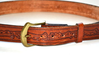 Vintage Authentic Levis belt full grain steerhide tooled  leather brown Unisex size 35 Excellent New condition