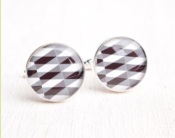 Argyle Pattern Cufflinks - Stainless Steel Black, White, and Gray Print Cuff Links