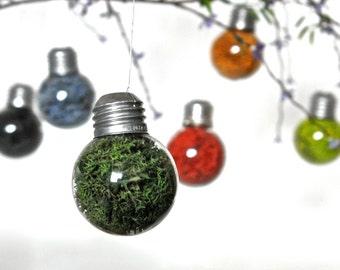 Mini Light Bulb Ornament with Dark Green Preserved Moss, Green Moss Terrarium Ornament, Green Christmas Ornament, Christmas Glass Ornament