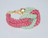 Raspberry & Pistachio Green Bracelet, Nautical Knot Bracelet, Pastel Cotton Rope Bracelet, Eco-fridendly Bracelet, Cotton Rope Bracelet