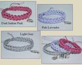 Handmade Cord Bracelet, Stackable Bracelet, Nylon Cord Bracelet, Crocheted Charm Bracelet, Crocheted Bracelet, Pastel Bracelet