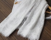 SALE white lace fabric ,eyelash lace fabric, scalloped lace fabric ,white fabric lace,Chantilly eyelash lace fabric