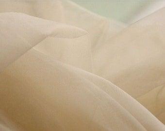 Ivory Gauze Lace Fabric, Ivory Shade Soft Mesh Lace Fabric , Fabric by Yard