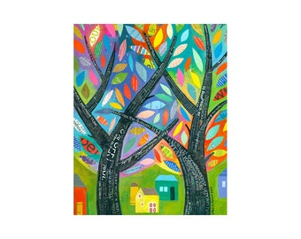 spring trees BRAIDED LIVES word art 8x10 PRINT Folk Art landscape   by Elizabeth Rosen