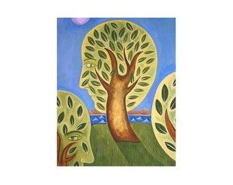 WISDOM abstract landscape people trees  PRINT 8x10    by Elizabeth Rosen