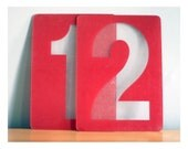 Vintage Red Numbers - Gas Station Signs 1 and 2