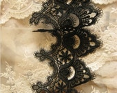 black lace trim, venise lace trim, scalloped trim lace